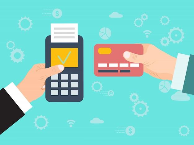 商人の手クレジットカードを支払います。クレジットカードのオンライン支払い。 edc mashineとクレジットカードでのお支払い。端末を介した販売時点での電子送金。