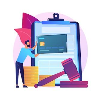 ペナルティを支払う抽象的な概念図。支払い遅延に対する利息、オンラインでのペナルティの支払い、税金の申告ではない、罰金、個人の責任分担、金銭的紛争。