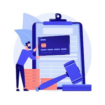 Оплата штрафов абстрактная концепция векторные иллюстрации. проценты за просрочку платежа, уплату штрафа онлайн, не подачу налогов, штраф, индивидуальная совместная ответственность, абстрактная метафора финансового спора.
