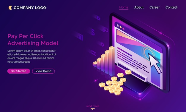 Pay per click advertising isometric landing page