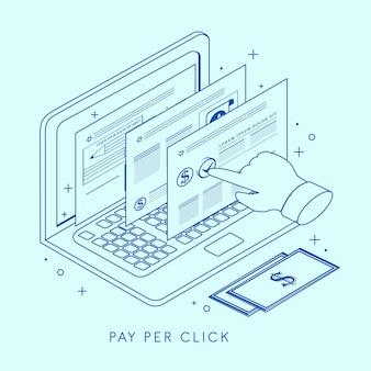 가는 선 스타일의 클릭당 지불 개념 그림