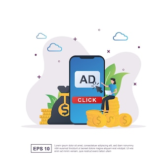 Pay per click concept with people pressing the ad button.