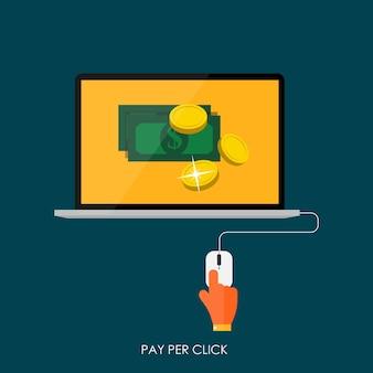 Плата за клик flat concept для веб-маркетинга. векторные иллюстрации. eps10