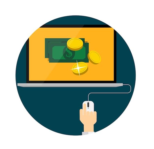 Плата за клик flat concept для веб-маркетинга. векторные иллюстрации