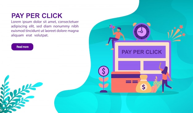 Pay per click illustration concept with character. landing page template