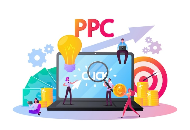 Плата за клик иллюстрации. крошечные персонажи на огромном рабочем столе компьютера с курсором, нажимающим на кнопку рекламы