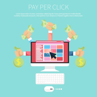 Pay per click internet advertising model when the ad is clicked. monitor with money in hands