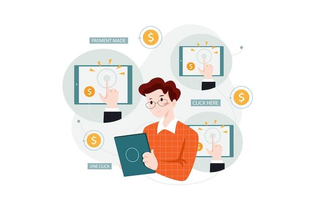 클릭당 지불 managementillustration 개념