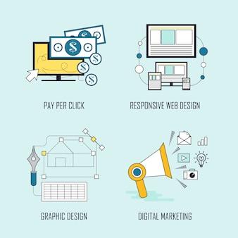 クリック課金型ウェブデザイン-グラフィックデザイン-ラインスタイルのデジタルマーケティング