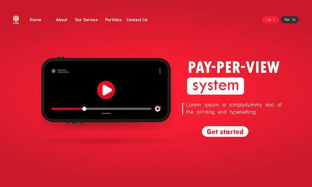 Pay per view 시스템 그림입니다. 디스플레이에 비디오 플레이어가 있는 스마트폰. 격리 된 배경에 벡터입니다. eps 10.