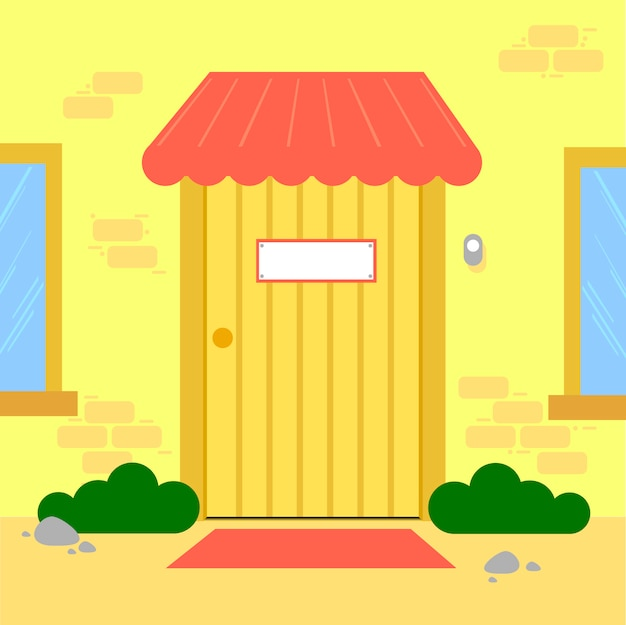 Pay phone and fire extinguisher vector. free space for text. wallpaper. background. exit door vector.