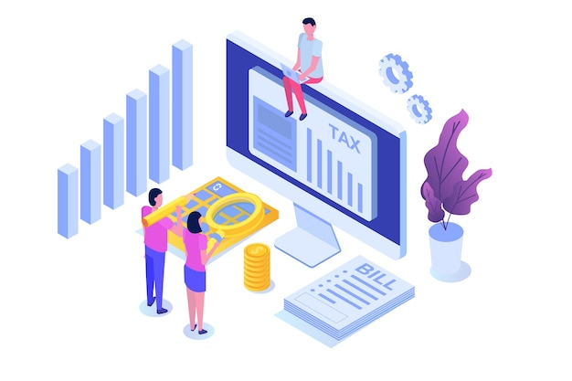 Pay tax online isometric concept