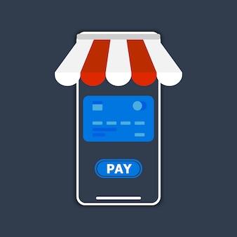 Отображается телефон с крышей, платежная карта и кнопка pay.