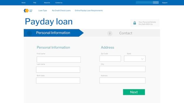 Domanda di prestito di giorno di paga sullo schermo di un laptop