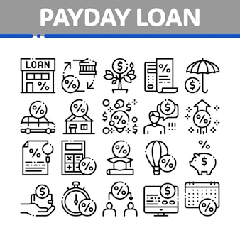 Payday loan collection elements icons set