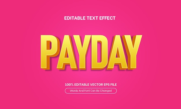 Payday sale 3d yellow pink editable text effect