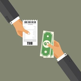 支払い法案のコンセプト。フラットスタイルのイラスト