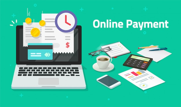 Paying bills online via credit card on laptop computer or electronic shopping concept on pc with digital internet payment invoice on pc notebook  flat cartoon transaction with financial receipt