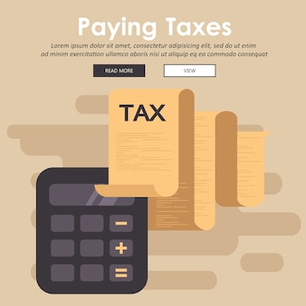 Paying bills and taxes concept