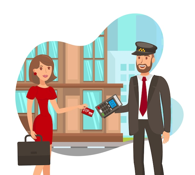Paying for taxi service flat vector illustration