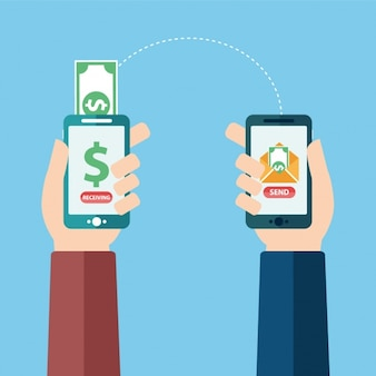 Paying throught mobile phone Free Vector