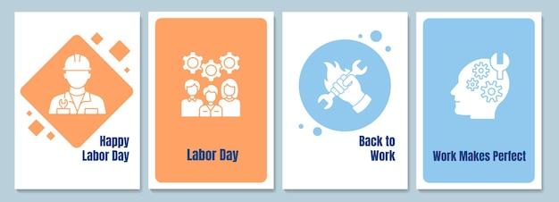 Отдавая должное рабочим поздравительные открытки с набором элементов значка глифа. творческий простой дизайн вектор открытки. декоративное приглашение с минимальной иллюстрацией. креативный баннер с праздничным текстом