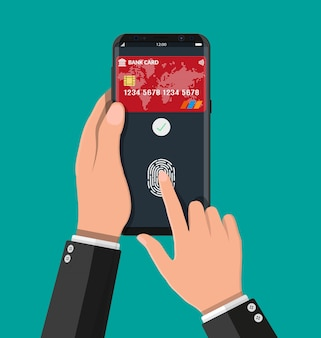Payment app with bank card on smartphone