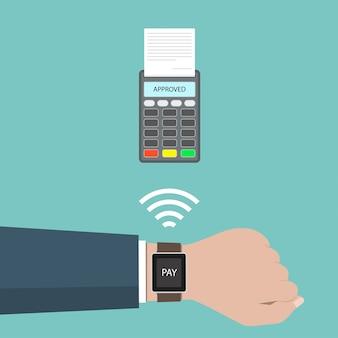 Концепция одобренного платежа. оплата через смарт-часы с беспроводной связью.