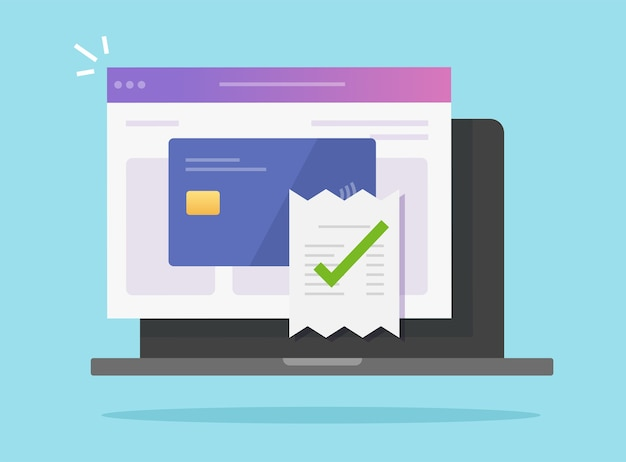 노트북 컴퓨터에서 은행 신용 카드를 통해 승인 된 결제 청구서 확인