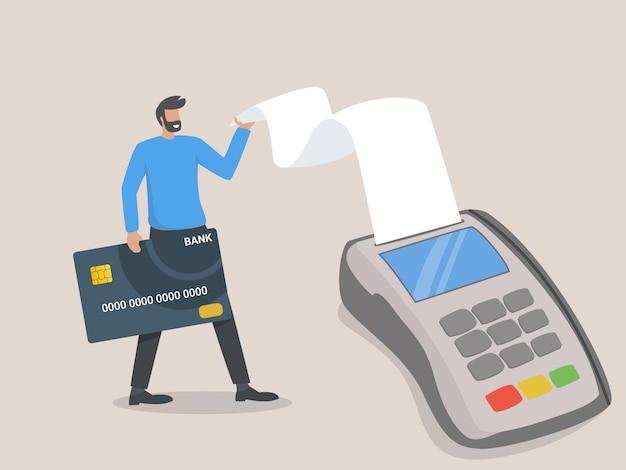 Оплата картой. бесконтактная оплата. онлайн-покупка. человек с помощью банковской карты к терминалу