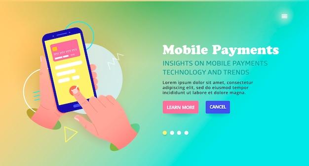 オンラインでのカードによる支払い、バナーデザイン。モバイル決済技術テンプレートデザイン、webバナー。モバイルを介した商品およびサービスの支払い。安全なオンラインカードに関するスライダーの図。