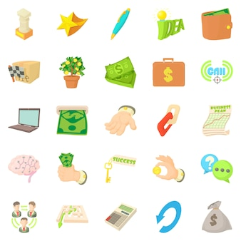 Payment by cash icons set, cartoon style