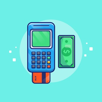 Payment by debit card  illustration. bank card and money. technology concept isolated