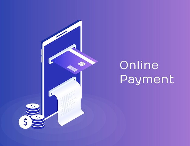 Payment by means the mobile phone, payments electronic online, mobile purse, smartphone with check tape and payment card. modern 3d isometric  illustration
