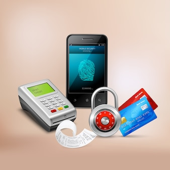 Payment by mobile phone with biometric protection realistic composition on beige