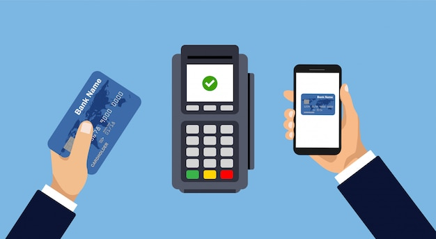 Payment by smartphone or card. mobile and contactless payment. pay pass.