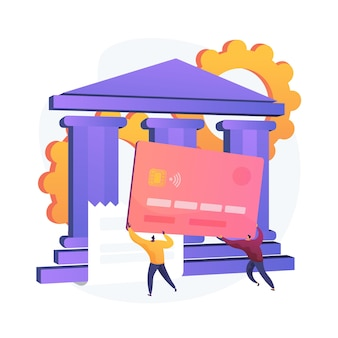 Платежная карточка. электронный перевод денежных средств. красочные герои мультфильмов держат пластиковую кредитную карту. банковское дело, кредит, депозит. система бесконтактных платежей. векторная иллюстрация изолированных концепции метафоры