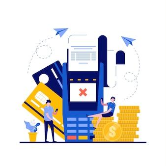 支払いカードエラー、支払いが文字で失敗した概念。画面にクレジットカードとクロスマークが付いたpos端末。ランディングページ、モバイルアプリ、ウェブバナー、ヒーロー画像のモダンなフラットスタイル。