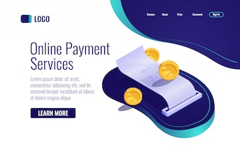 Payment concept, paper receipt online banking icon isometric, payroll with coin money