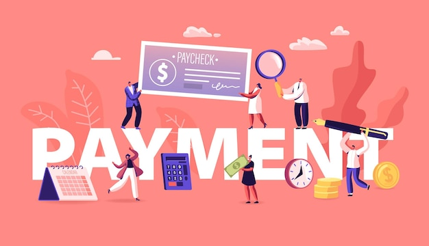 Payment concept. people paying money for services and to bank loan and credit using cash and paycheck. cartoon flat illustration