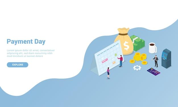 ウェブサイトテンプレートまたは着陸ホームページ等尺性のモダンなスタイルの支払い日または給与の概念
