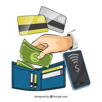 Sfondo di elementi di pagamento