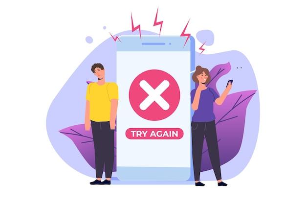 スマートフォンでの支払いエラー情報メッセージ。顧客のクロスマークの失敗。