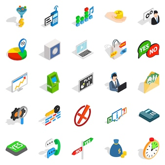 Payment icons set, isometric style