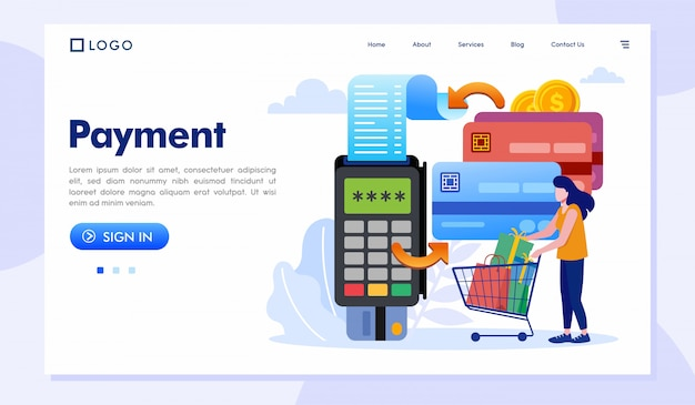 Payment landing page website illustration