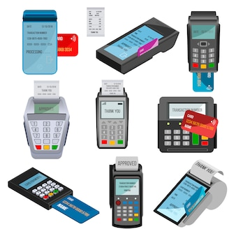 Payment machine pos banking terminal for credit card paying through machining cardreader or cash register in store illustration set isolated on white background