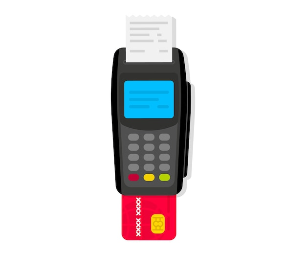Payment machine. pos terminal. nfc payments. payment by credit card using pos terminal with inserted credit card and print receipt. terminal confirms the payment. nfc bank payment device. top view