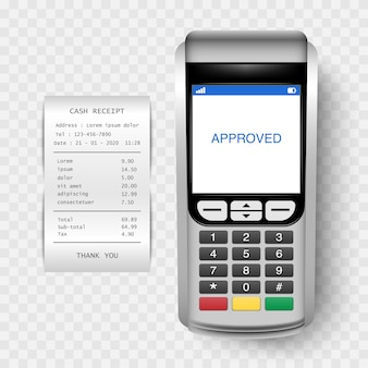 Payment machine, post terminal with cash receipt isolated on transparent background