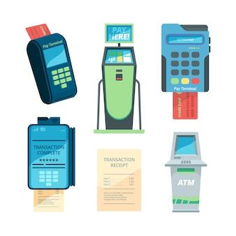 Payment machines. checkout terminal money nfc modules self servicing automat vector flat collection. illustration payment terminal collection, electronic transaction