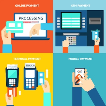 Payment methods. business and buy, flat design and money. credit card, cash, mobile app and atm terminal. vector illustration